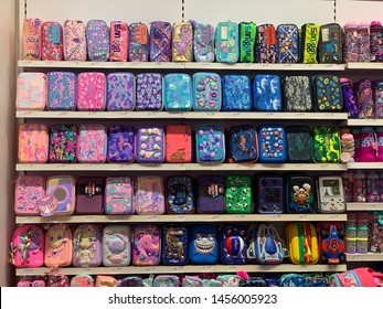 Malaysia, 19 JULY 2019. A colourful of a smiggle pencilcase on rack in smiggle shop at Kuala Lumpur.