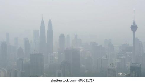 MALAYSIA, 19 September 2015 - View of Kuala Lumpur city in haze