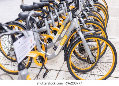 Malaysia, 2017 - oBike, makes their debut in the city of Kuala Lumpur. Users can rent a bike as low as RM1 for 15 minutes via their smart phone app. Shallow depth of field.