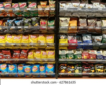 Malaysia, 25 April 2017. Variety of potato chips products for sale at Jaya Grocery, Kuala Lumpur