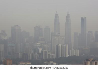 MALAYSIA, 26 August 2019 - View of Kuala Lumpur City Centre (KLCC) in haze. KLCC is a multipurpose development area in Kuala Lumpur, Malaysia.