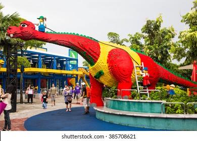 Malaysia - 6 Dec 2013: A lovely colorful dinosaur at Legoland Malaysia
