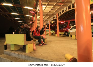 Malaysia 8 Oct 2011 - Visitor are waiting for night bus in Genting Highland terminal that will take them to Kuala Lumpur