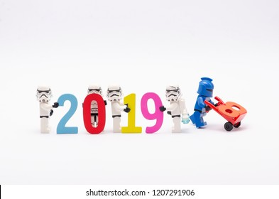 MALAYSIA, apr 06, 2018. mini figure of  storm troopers assembling year 2019. Lego minifigures are manufactured by The Lego Group.