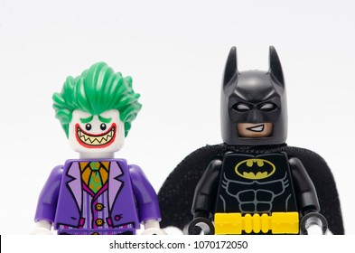 MALAYSIA, April 14, 2018. mini figure of batman and joker. Lego minifigures are manufactured by The Lego Group.