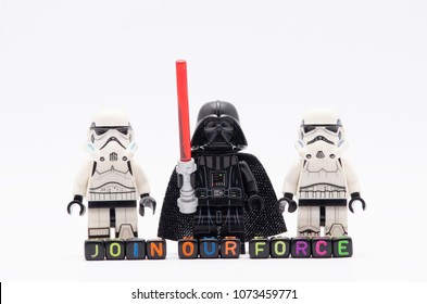MALAYSIA, April 14, 2018. mini figure of darth vader with storm troopers with word join our crew. Lego minifigures are manufactured by The Lego Group.