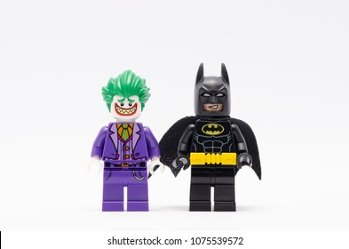 MALAYSIA, April 14, 2018.batman and joker mini figure isolated on white background. Lego minifigures are manufactured by The Lego Group.