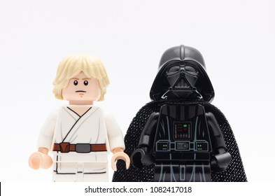 MALAYSIA, April 22, 2018. mini figure of darth vader with luke skywalker. Lego minifigures are manufactured by The Lego Group.