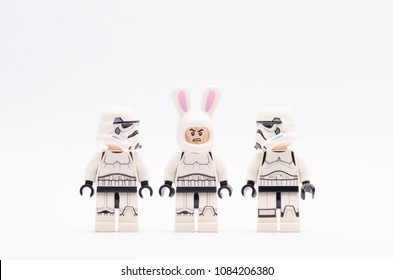 MALAYSIA, April 22, 2018. mini figure of storm troopers with one of them wearing bunny helmet . Lego minifigures are manufactured by The Lego Group.