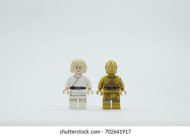 MALAYSIA, aug 24, 2017, lego skywalker and c3p0 star wars character on isolated white background. Lego minifigures are manufactured by The Lego Group.