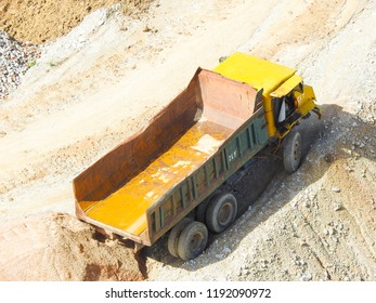 Malaysia - August 12,2018 : Close up  of industrial excavator working on construction site. Selective focus and crop fragment