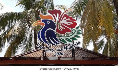 MALAYSIA - AUGUST 31, 2018:  New logo visit Malaysia 2020 display at Royal Floria Putrajaya, Malaysia