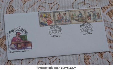 Malaysia - CIRCA 2012 First day cover with stamps printed by Malaysian Postal Service showing Malaysian Traditional Livelihood.