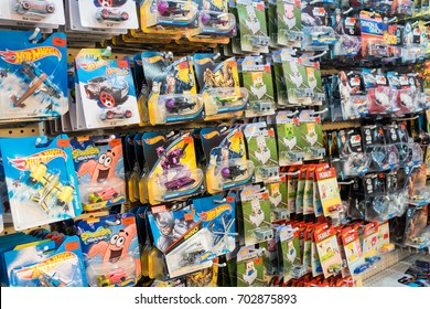 Malaysia, Circa 2017 - Colorful Hotwheels toys on display at Toys 'r us. Hotwheels is a product of Mattel, with factories located in Penang, Malaysia and Thailand.