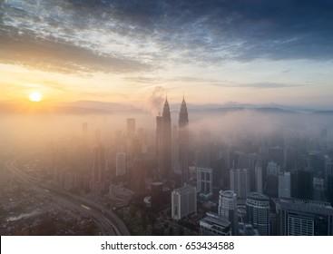Malaysia Circa 2017 - Good morning Kuala Lumpur (Aerial)