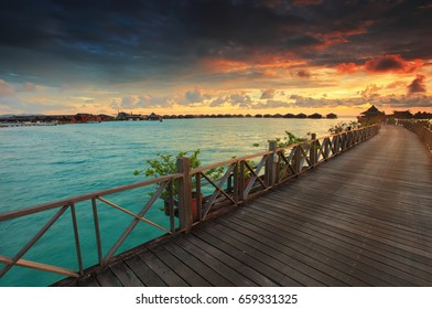Malaysia, Circa 2017 - Sunrise view in Mabul Island, Borneo. Low light condition and soft focus due to long exposure.
