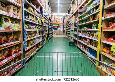 Malaysia, Circa 2017 - A  view from a shopping cart inside a warehouse selling food items somewhere in Kuala Lumpur. Malaysians are feeling the recession as the price of goods is getting expensive.