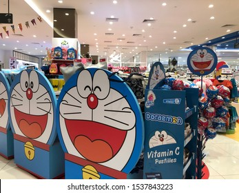 Malaysia, Circa 2019 - A display of Doraemon products in a shopping mall in Kuala Lumpur. Doraemon is a Japanese manga series written and illustrated by Fujiko F. Fujio.