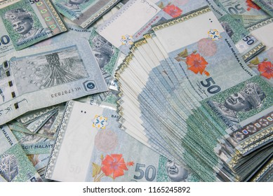 Malaysia Currency (MYR), 50 Ringgit Malaysia bank note close up.