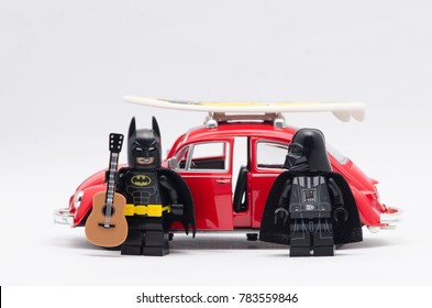 malaysia, DEC 18, 2017. batman and darth vader with  volkswagen beetle. Lego minifigures are manufactured by The Lego Group.