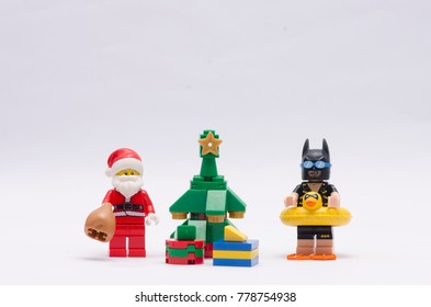 malaysia, DEC 18, 2017.  santa claus with vacation batman . Lego minifigures are manufactured by The Lego Group.
