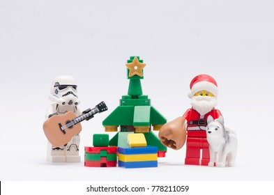 malaysia, DEC 18, 2017. storm trooper playing guitar  santa claus. Lego minifigures are manufactured by The Lego Group.
