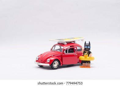 malaysia, DEC 18, 2017. vacation batman going on holiday riding volkswagen beetle. Lego minifigures are manufactured by The Lego Group.