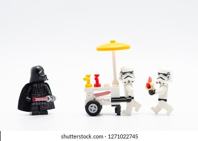 Malaysia, dec 30, 2017. darth vader and storm troopers with food stall .  Lego minifigures are manufactured by The Lego.