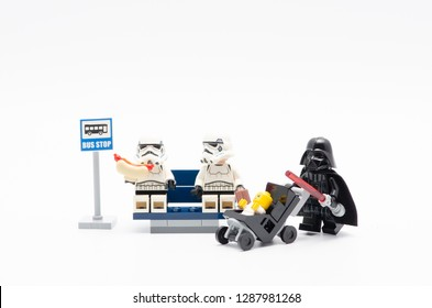 Malaysia, dec 30, 2017. storm troopers with dart vader at bus stop.  Lego minifigures are manufactured by The Lego.