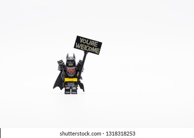 MALAYSIA, feb 16, 2019. lego battle ready batman holding You are Welcome sign. Lego minifigures are manufactured by The Lego Group.