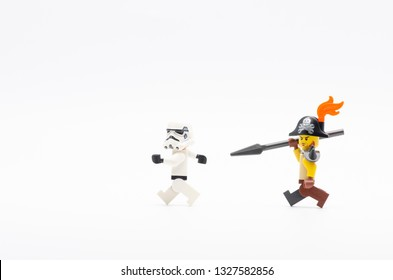 MALAYSIA, feb 16, 2019. lego pirate chasing storm trooper. Lego minifigures are manufactured by The Lego Group.