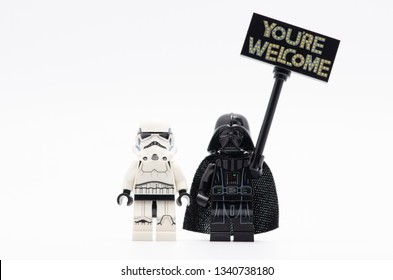 MALAYSIA, feb 16, 2019. lego storm trooper with darth vader holding you are welcome sign. Lego minifigures are manufactured by The Lego Group.