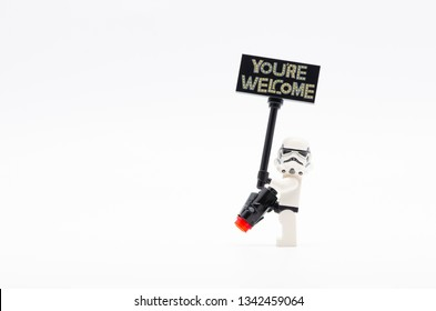 MALAYSIA, feb 16, 2019. lego storm trooper holding you are welcome sign. Lego minifigures are manufactured by The Lego Group.