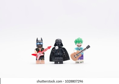 MALAYSIA, Feb 17, 2018.  darth vader singing with batman and joker playing the guitar. Lego minifigures are manufactured by The Lego Group.