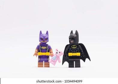 MALAYSIA Feb 18 2018 Batman Watching Batgirl Holding Teddy Bear Lego Minifigures