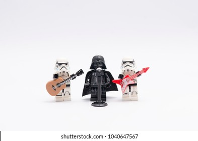 MALAYSIA, feb 18, 2018. mini figure of darth vader with microphone and stormtrooper with guitar. Lego minifigures are manufactured by The Lego Group.