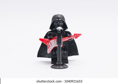 MALAYSIA, feb 18, 2018. mini figure of darth vader with microphone and guitar. Lego minifigures are manufactured by The Lego Group.