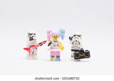 MALAYSIA, feb 18, 2018. mini figure n-pop girl holding a microphone with storm troopers holding guitar and a radio. Lego minifigures are manufactured by The Lego Group.