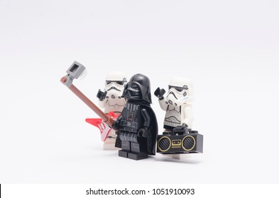 MALAYSIA, feb 18, 2018. mini figure of darth vader taking a selfie with storm trooper holding radio and a guitar. Lego minifigures are manufactured by The Lego Group.