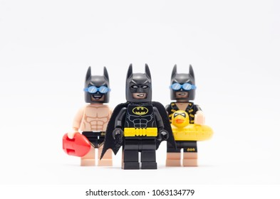 MALAYSIA, feb 18, 2018. mini figure of  batman with vacation batman and beach batman. Lego minifigures are manufactured by The Lego Group.