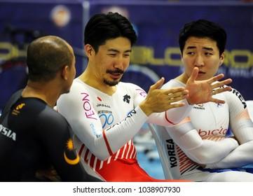 Malaysia, February 19th 2018: Sprinter, Azizulhasni Awang (left) chating  with Japan's Kazunari Watanabe and Korea athlete, Chaebin Im during 38th Asian Track Championships 2018 at National Velodrome.