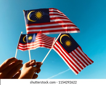 Malaysia Flag as background / The Malaysian National Flag consists of fourteen red and white stripes of equal width and a blue canton bearing a crescent and a 14 point star