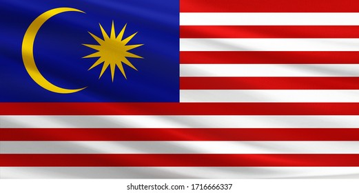 Malaysia flag with fabric texture