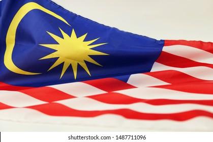 Malaysia flag isolated on white background.