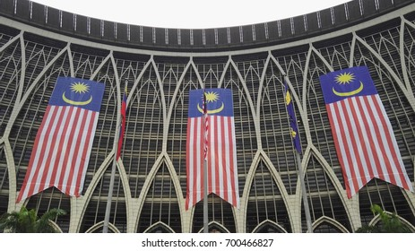 Malaysia flag on goverment office building celebrating independance day