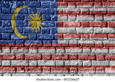 Malaysia Flag Painted on brick wall