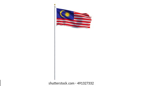 Malaysia flag waving on white background, long shot, isolated with clipping path mask alpha channel transparency
