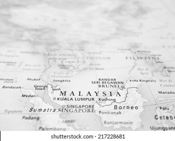 Malaysia (Geographical view altered on colors/perspective and focus on the edge. Names can be partial or incomplete)
