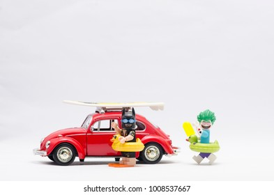 MALAYSIA, jan 21, 2018. batman and joker on vacation with volkswagen beetle car. Lego minifigures are manufactured by The Lego Group.