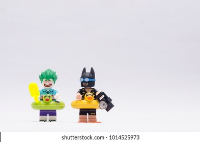 MALAYSIA, jan 21, 2018. batman and joker on vacation. Lego minifigures are manufactured by The Lego Group.